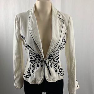 Rebecca Taylor Off White and Black Corduroy Jacket